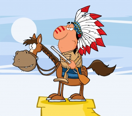 indian old man: Indian Chief With Gun On Horse Over Rocks Illustration