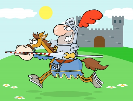cartoon knight: Knight Riding Horse In The background Of Medieval Castle