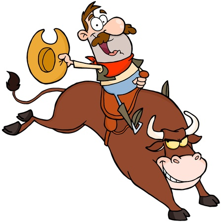 country western: Happy Cowboy Riding Bull In Rodeo