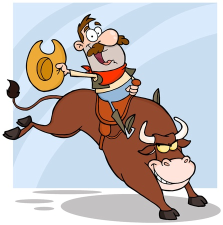 western usa: Cowboy Riding Bull In Rodeo Illustration