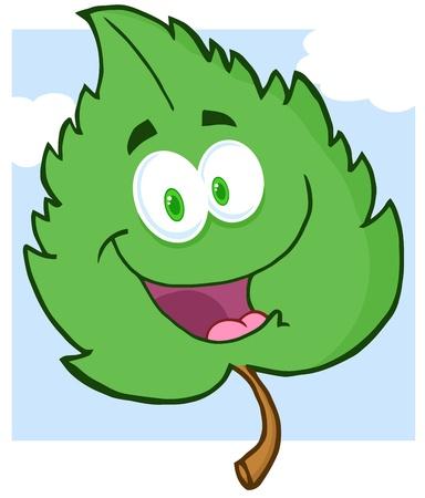 녹색 잎 만화 캐릭터 일러스트