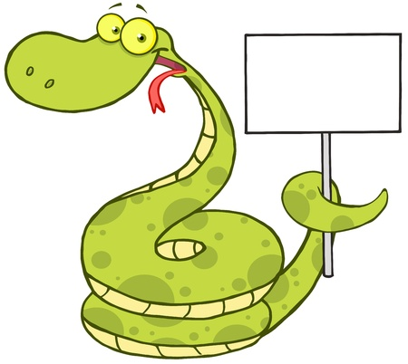 Happy Snake Cartoon Character Holding Up A Blank Sign Vector
