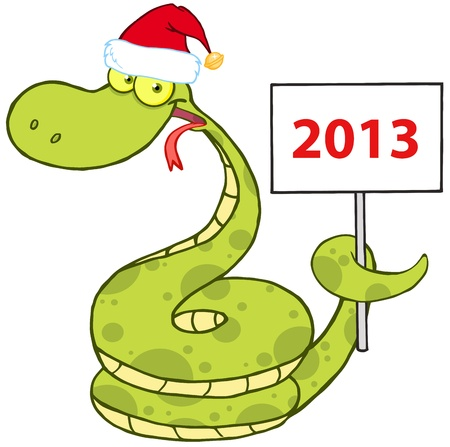 Happy Snake With Santa Hat Holding Up A Blank Sign Vector