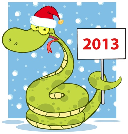 Happy Snake With Santa Hat Holding Up A Blank Sign In Snow Vector