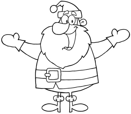 outlined isolated: Outlined Santa Claus With Open Arms