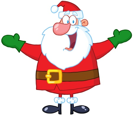 cartoon santa: Jolly Santa Claus With Open Arms Illustration