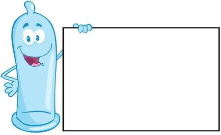 Condom Cartoon Mascot Character Holding A Blank Sign  Çizim