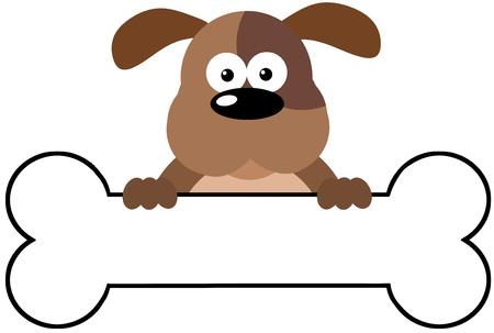 perro caricatura: Perro de la historieta sobre una bandera de hueso