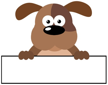 Cartoon Dog Over A Banner Vector