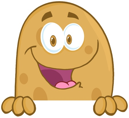batata: Potato Cartoon Mascot Character Over A Sign