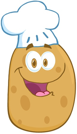 batata: Potato Cartoon Mascot Character With Chef Hat