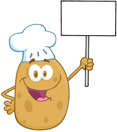 Potato Chef Holding Up A Blank Sign Vector