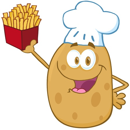 fry: Potato Chef Holding Up A French Fries