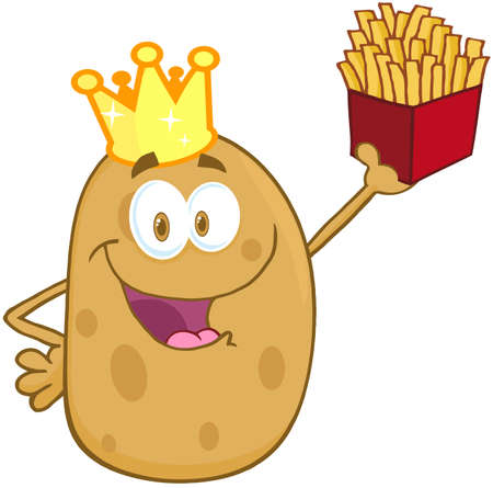 Potato With Crown Holding Up A French Fries Vector
