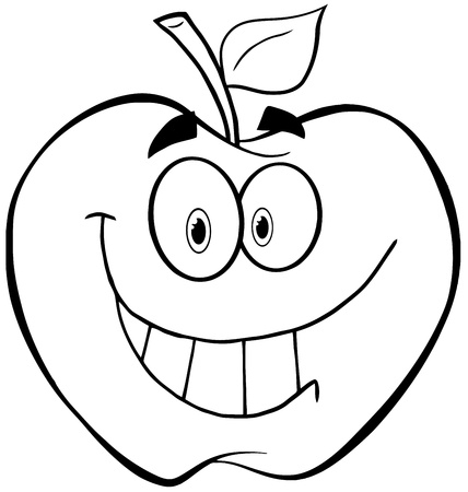 Outlined Apple Cartoon Mascot Character