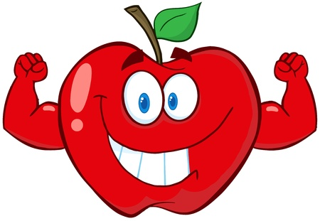arm muscles: Apple Cartoon Mascot Character With Muscle Arms