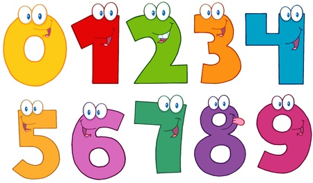 0 6: Funny Numbers Cartoon Characters Illustration