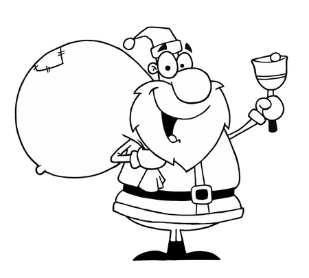 nicholas: Black And White Coloring Page Outline Of A Santa Bell Ringer