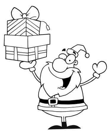 Black And White Coloring Page Outline Of Santa Holding Up Gifts Vector