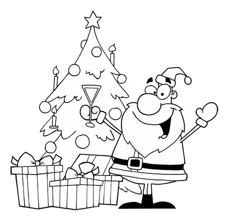 kris kringle: Black And White Coloring Page Outline Of Santa Drinking Champagne By A Christmas Tree Illustration