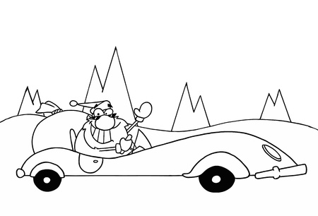 Black And White Coloring Page Outline Of Santa Driving A Convertible Stock Vector - 16386808