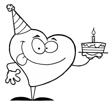 b day party: Black And White Coloring Page Outline Of A Heart Holding A Cake Illustration
