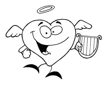 Black And White Coloring Page Outline Of A Heart Angel Stock Vector - 16386684