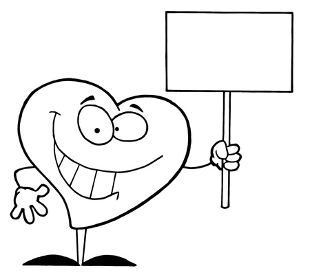 Black And White Coloring Page Outline Of A Heart Holding A Sign Vector