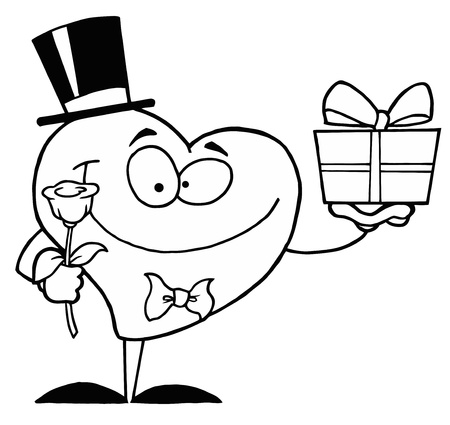 Black And White Coloring Page Outline Of A Heart Giving A Present And Flower Vector