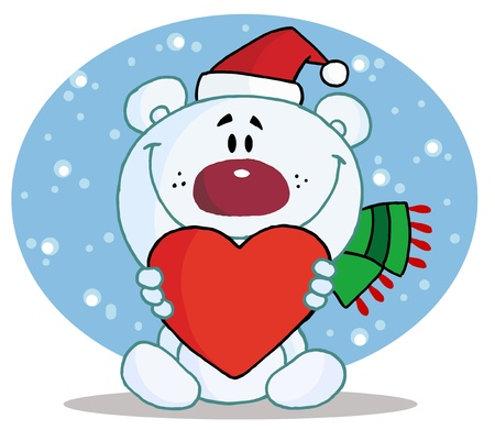 Christmas Polar Bear Holding A Heart Vector