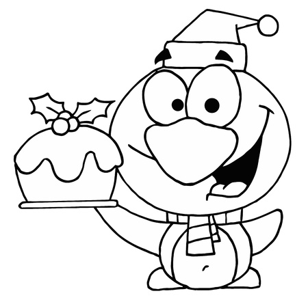 Outline Of A Penguin Holding Christmas Pudding Vector