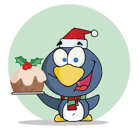 Happy Christmas Penguin Holding Christmas Pudding