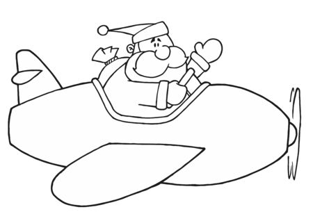st claus: Black And White Coloring Page Outline Of Santa Flying A Plane Illustration