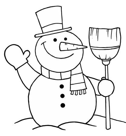 Blanco y negro para colorear esquema de página de un muñeco de nieve con una escoba Ilustración de vector