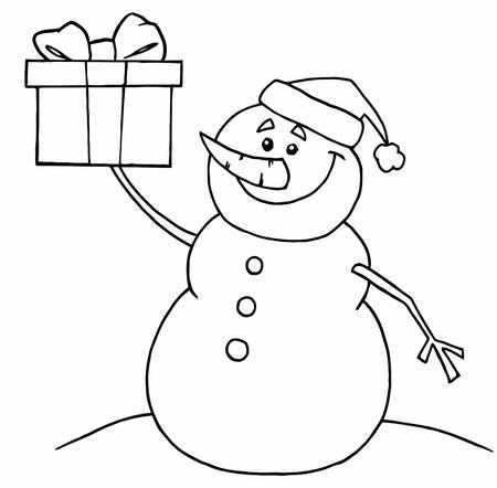 dibujos para pintar: Esquema para colorear p�ginas en negro y blanco de un mu�eco de nieve que sostiene un regalo Vectores