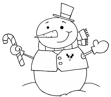 stock clip art icon: Black And White Coloring Page Outline Of A Snowman Holding A Candy Cane Illustration