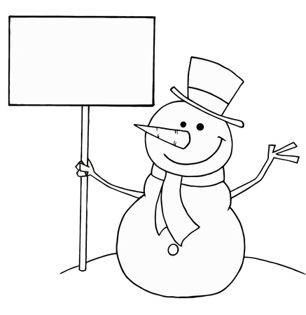 coloring book pages: Black And White Coloring Page Outline Of A Snowman Holding A Sign Illustration