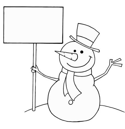 Esquema para colorear páginas en negro y blanco de un muñeco de nieve con un cartel