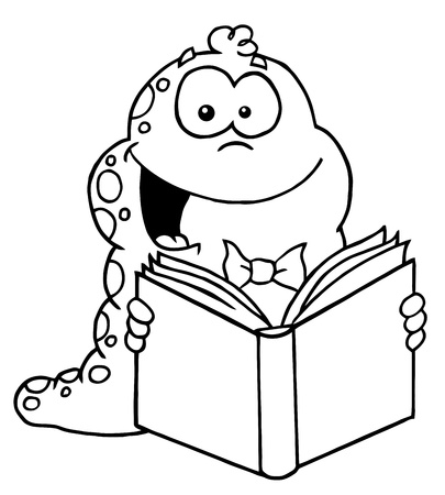 Outlined Reading Worm Vector