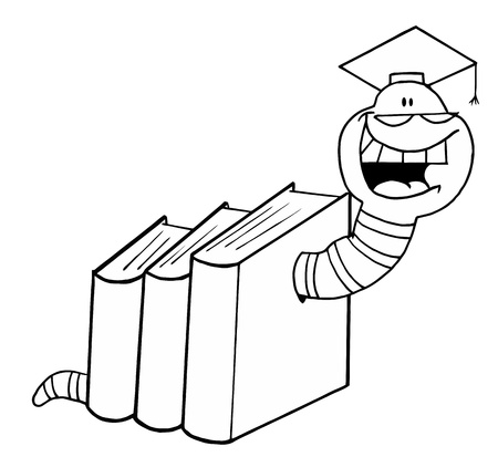Outlined Graduate Worm In Books Vector