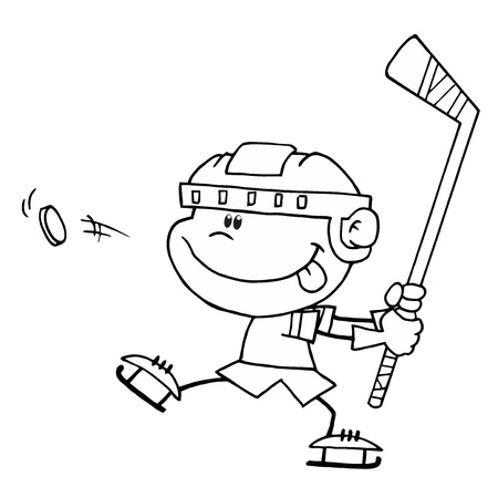 Black And White Outline Of A Caucasian Boy Preparing To Whack A Hockey Puck Vector