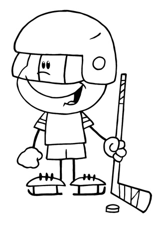 Black And White Outline Of A Little Boy Playing A Hockey Goalie Vector