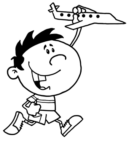 Black And White Outline Of A Boy Running And Playing With A Toy Airplane Vector