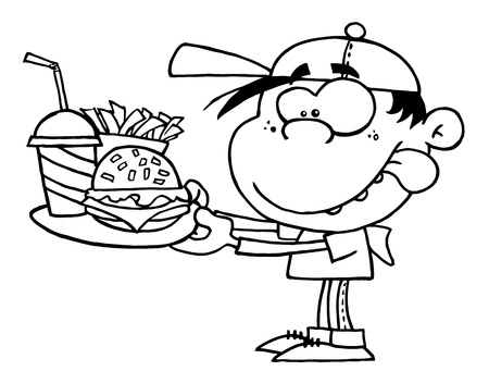 Outlined Boy With Fast Food Vector