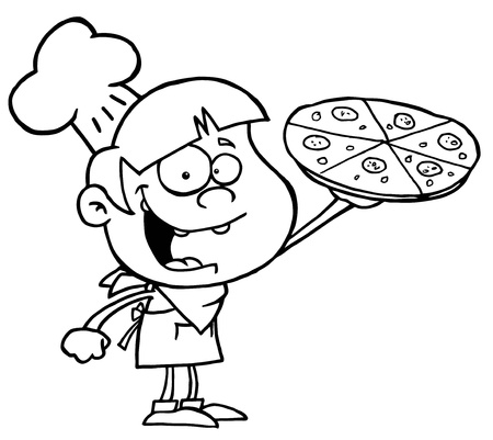 culinary arts: Outlined Pizza Boy Illustration