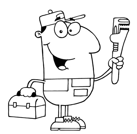 Clipart Illustration of an Outlined Plumber