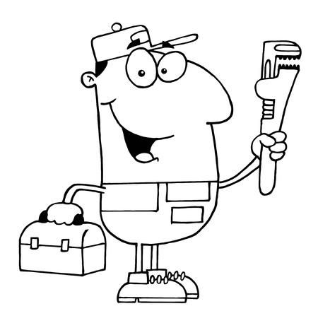 herramientas de plomeria: Clipart Ilustraci�n de un fontanero Outlined