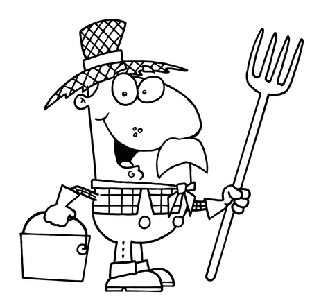 Clipart Illustration of an Outlined Farmer Illustration
