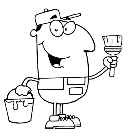 jobs: Clipart Illustration of an Outlined House Painter