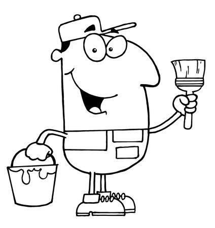 libro caricatura: Clipart Ilustración de un pintor de casa Outlined Vectores